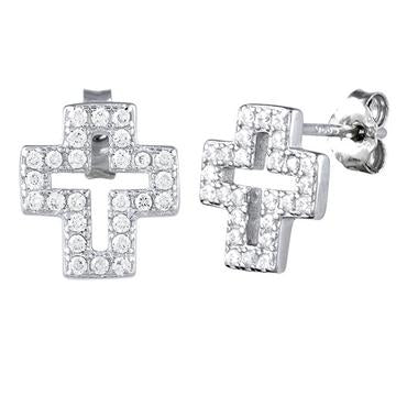 Earring | Mini Post | Cross - CZ