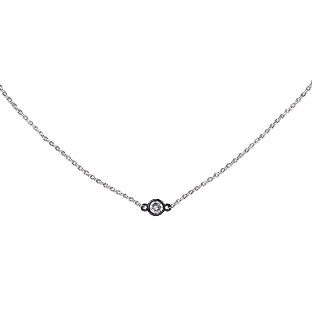Petite CZ | Little Layer Necklace | Sterling Silver - Gunmetal