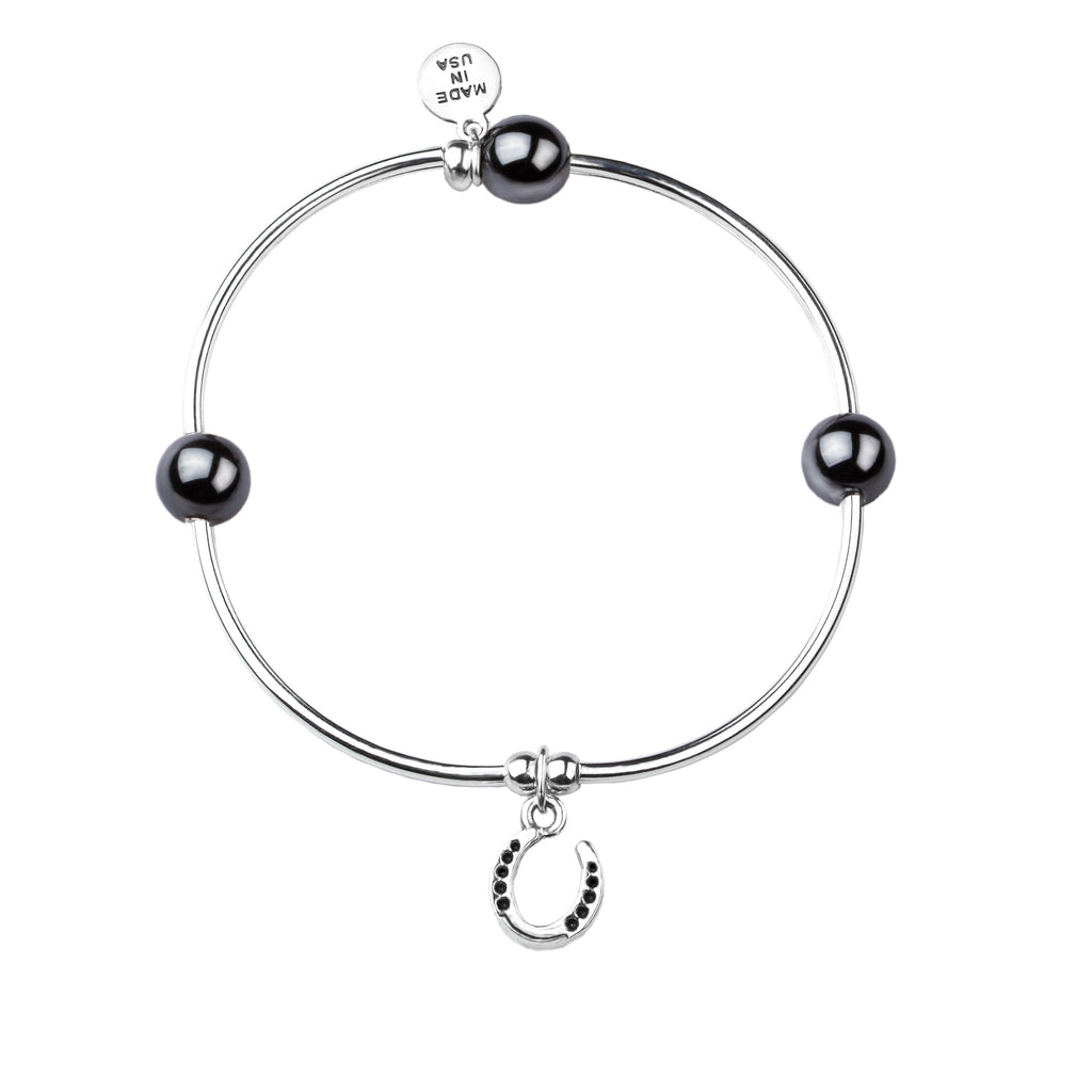 Horseshoe | Soft Bangle Charm Bracelet | Hematite