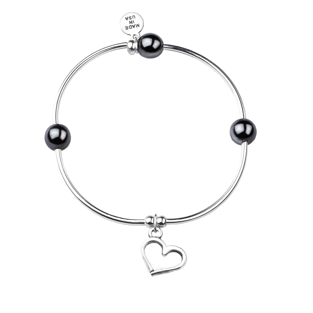 Heart | Soft Bangle Charm Bracelet | Hematite