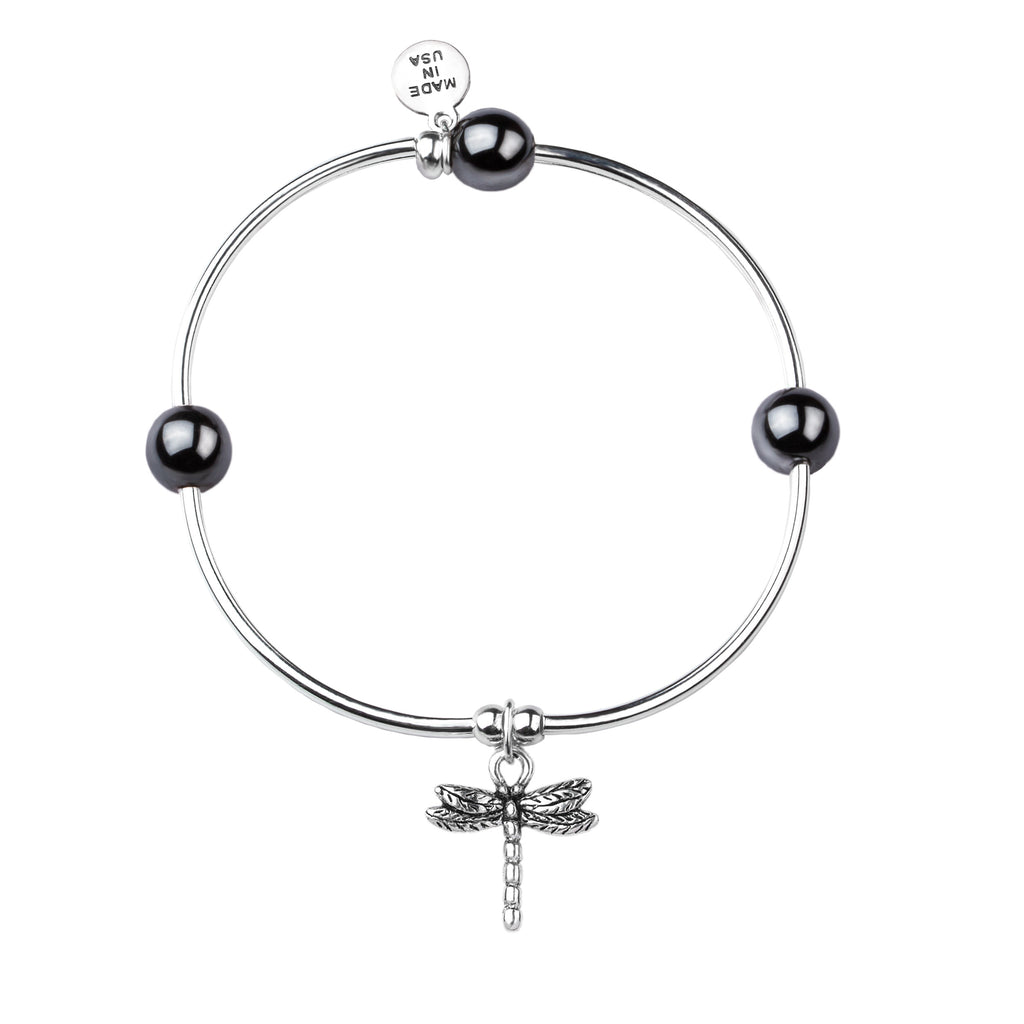 Dragonfly | Soft Bangle Charm Bracelet |  Hematite
