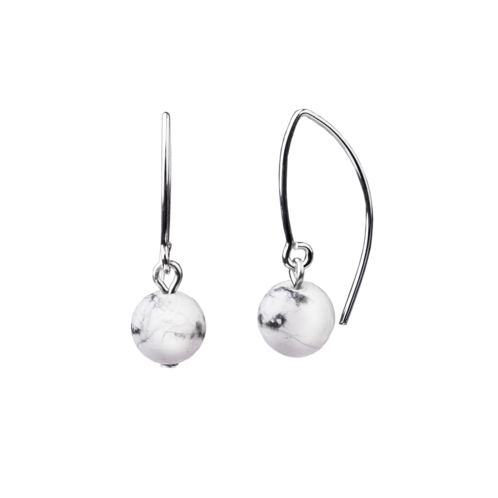 Earring | V Wire - Small  | Howlite