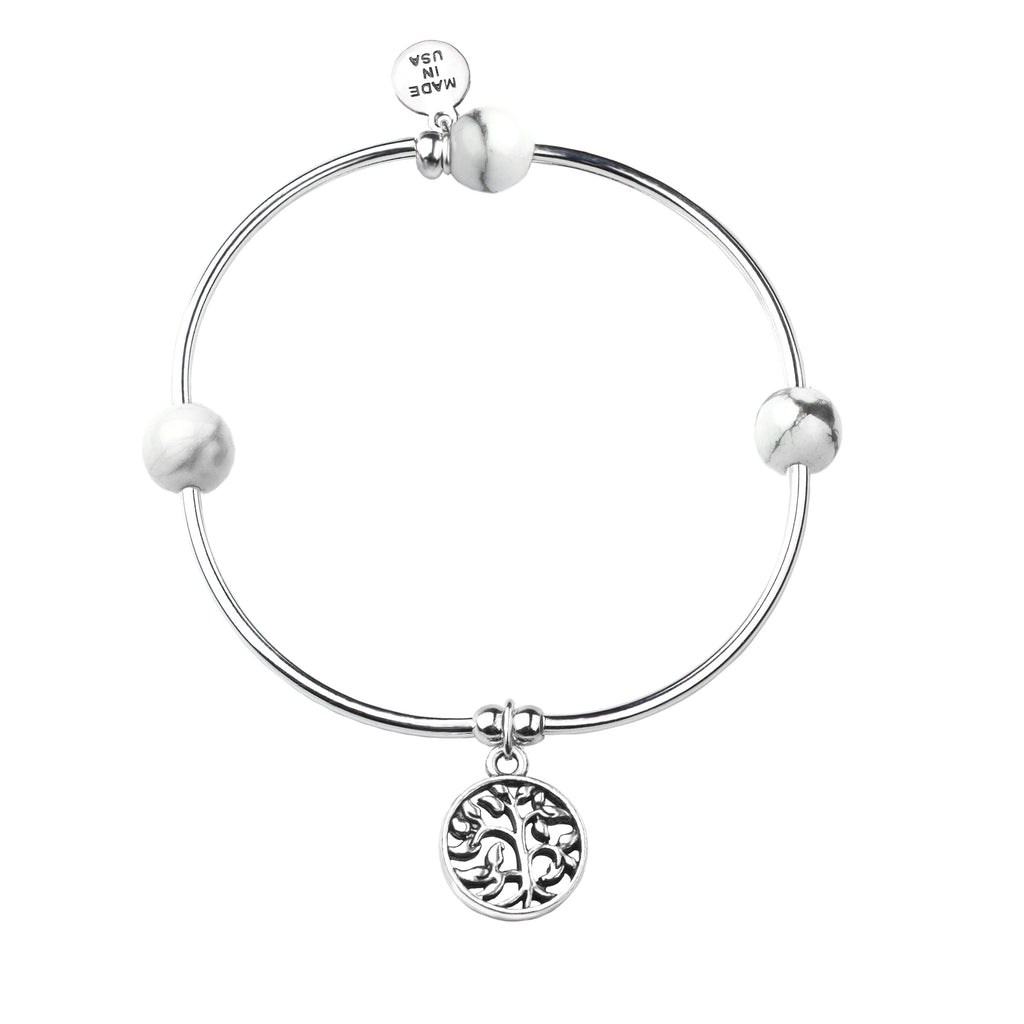 Tree of Life | Soft Bangle Charm Bracelet | Howlite