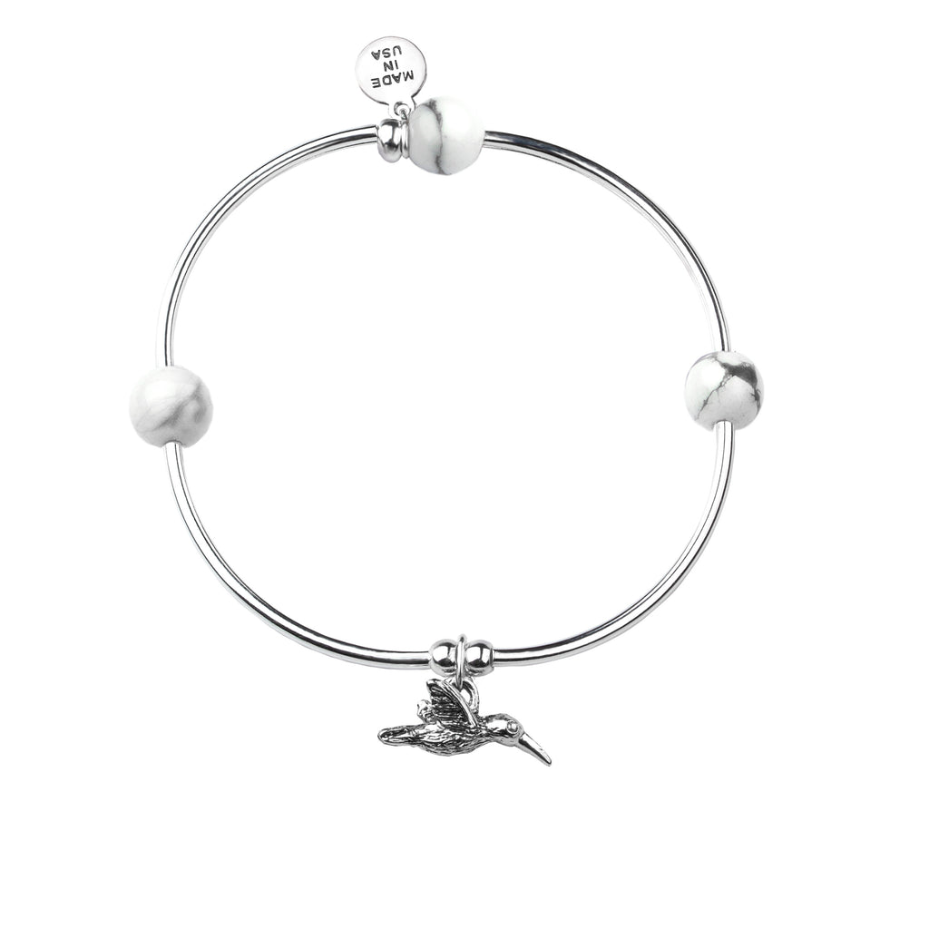 Hummingbird | Soft Bangle Charm Bracelet |  Howlite