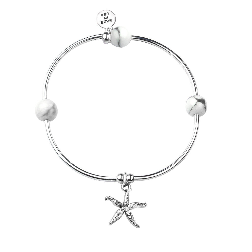 Starfish | Soft Bangle Charm Bracelet | Howlite