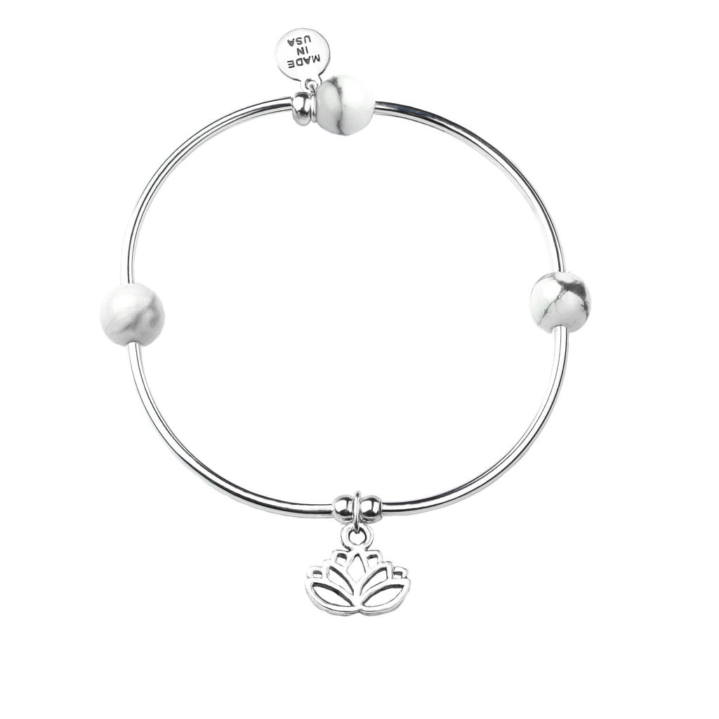 Lotus | Soft Bangle Charm Bracelet | Howlite