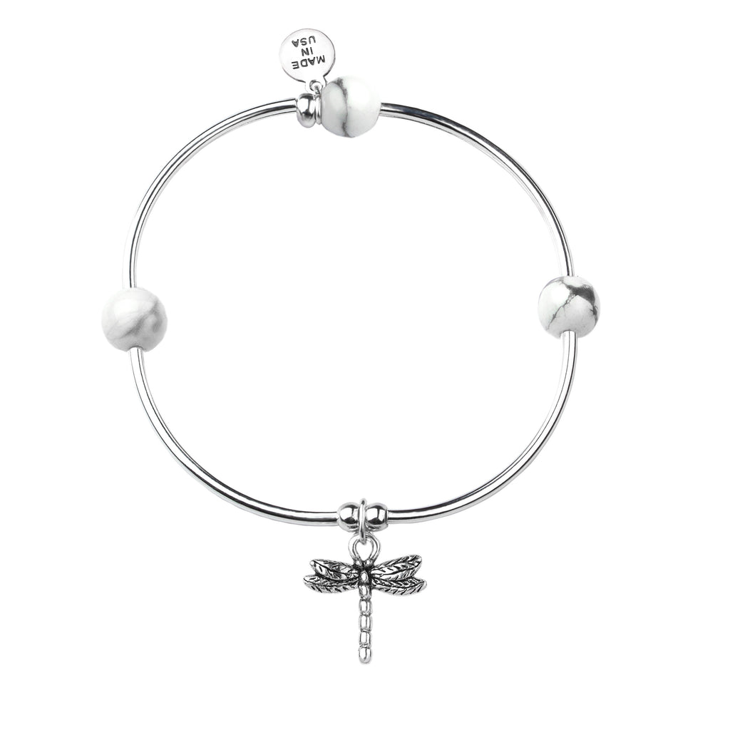 Dragonfly | Soft Bangle Charm Bracelet |  Howlite