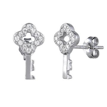 Earring | Mini Post | Key - CZ