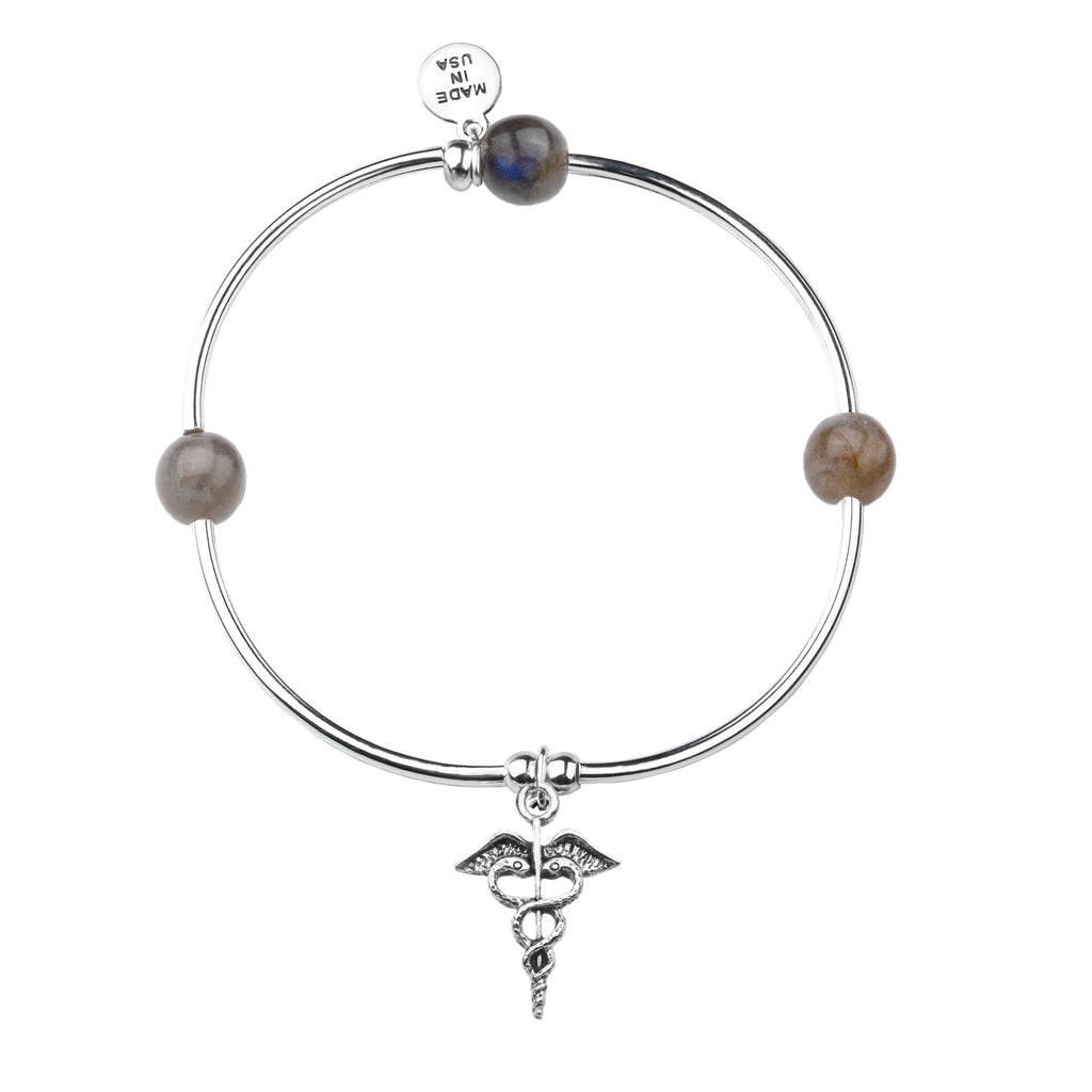 Caduceus (Medical Symbol) | Soft Bangle Charm Bracelet | Labradorite