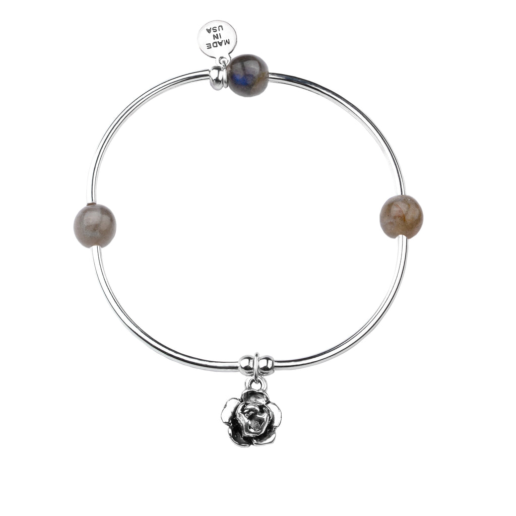 Rose | Soft Bangle Charm Bracelet | Labradorite
