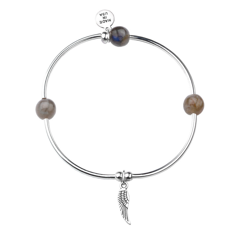 Angel Wing | Soft Bangle Charm Bracelet | Labradorite
