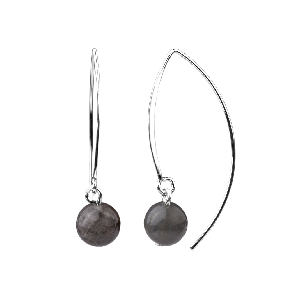 Earring | V Wire - Large  | Labradorite