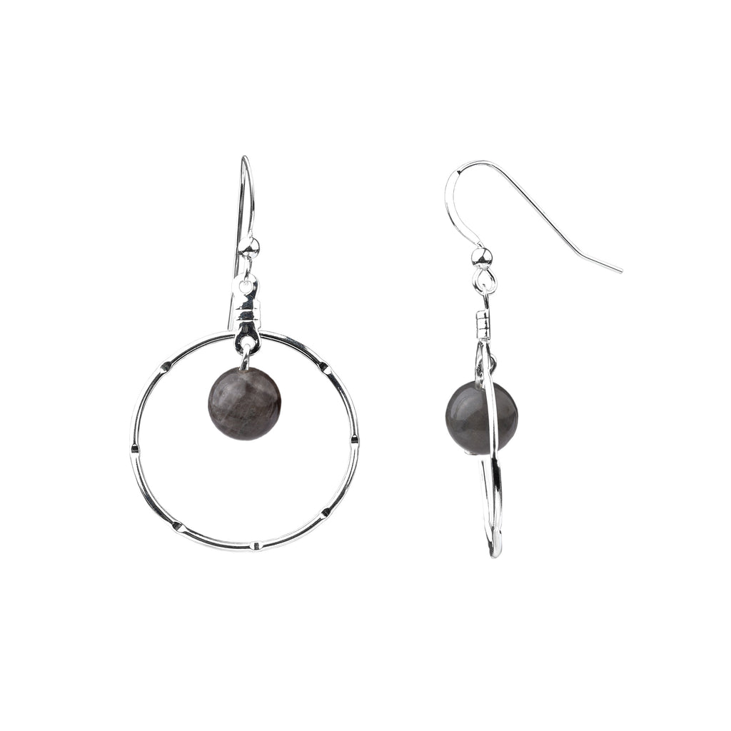 Earring | Notched Hoop | Labradorite