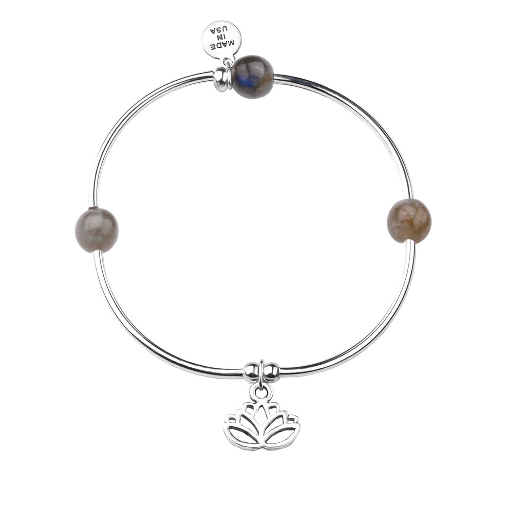 Lotus | Soft Bangle Charm Bracelet | Labradorite