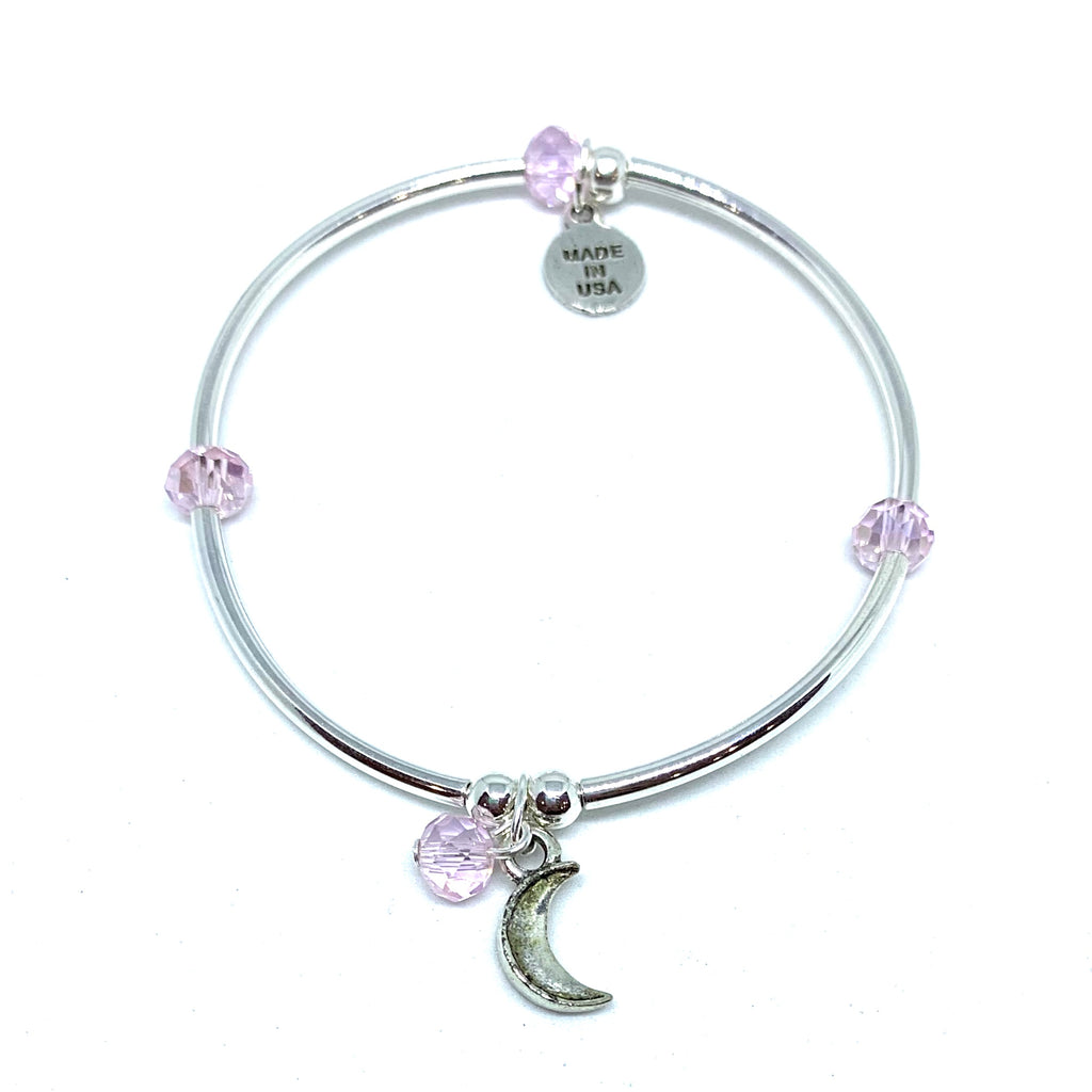 Moon | Soft Bangle Charm Bracelet | Kids | Blush