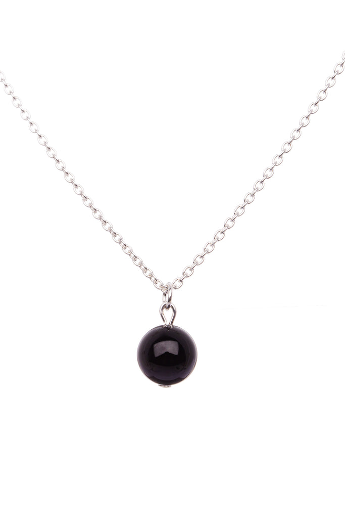 Sterling Silver Single Stone Necklace| Onyx