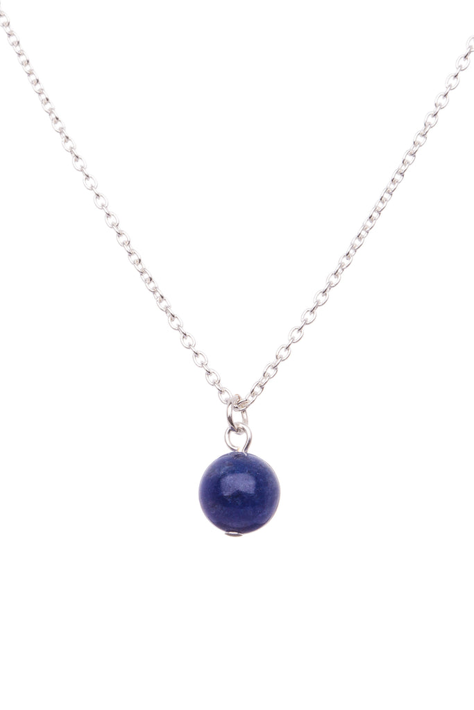 Sterling Silver Single Stone Necklace| Sodalite