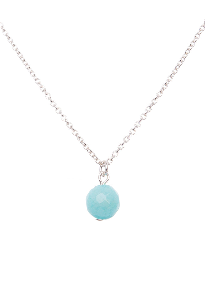 Sterling Silver Single Stone Necklace| Tiffany Blue Agate