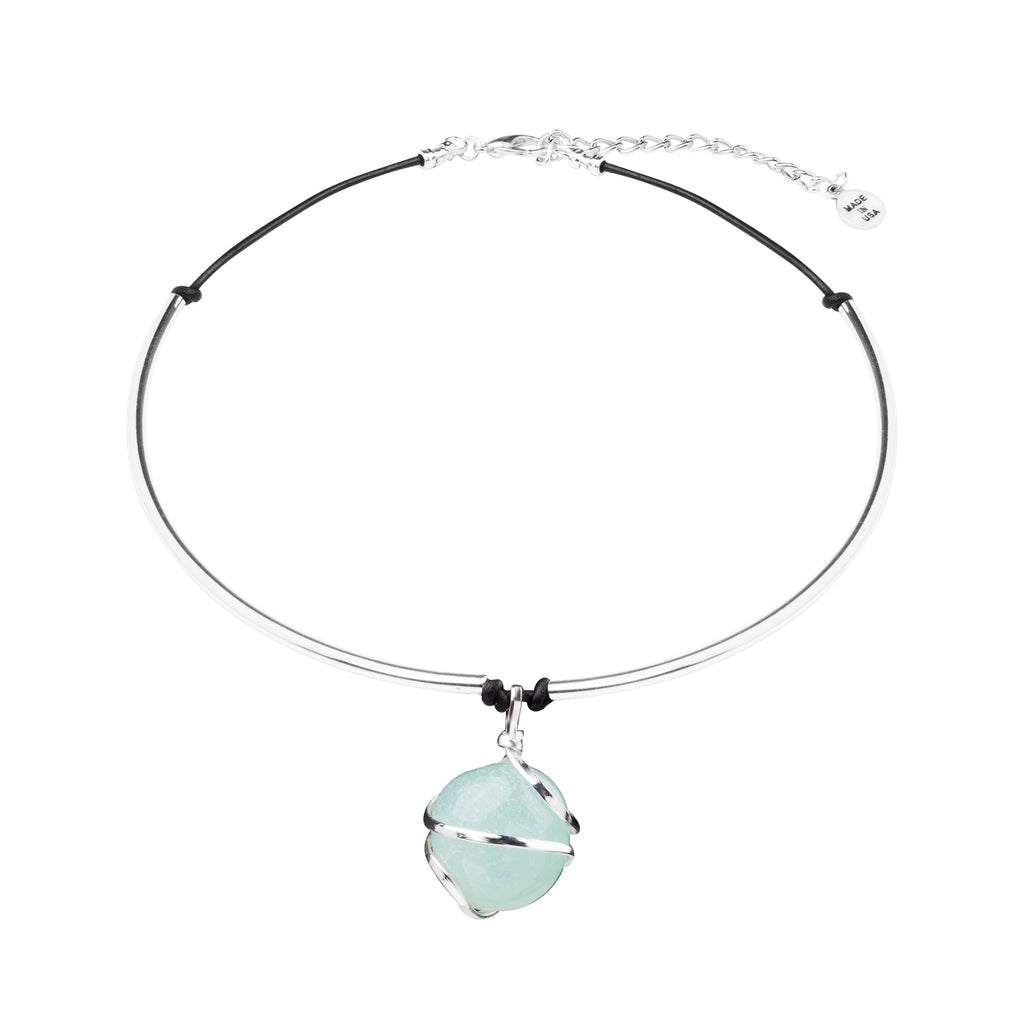 Necklace - Statement Cuff | Silver Wrapped Stone | Amazonite - Courage