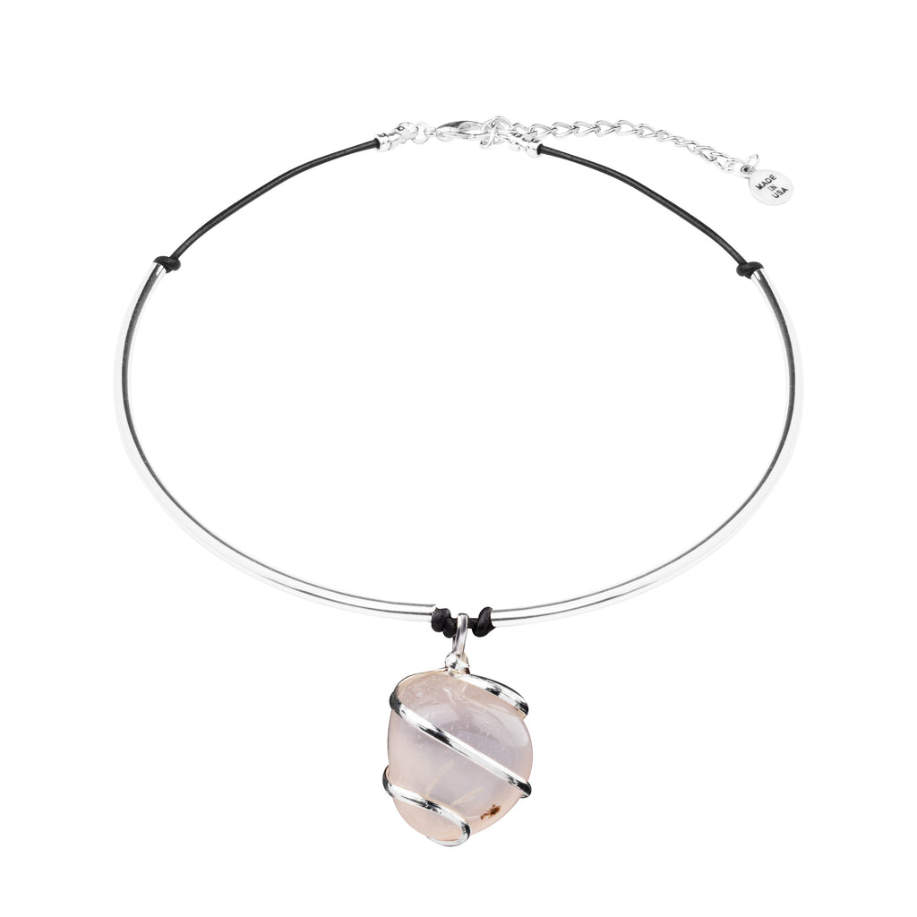 Necklace - Statement Cuff | Silver Wrapped Stone | Rose Quartz - Love