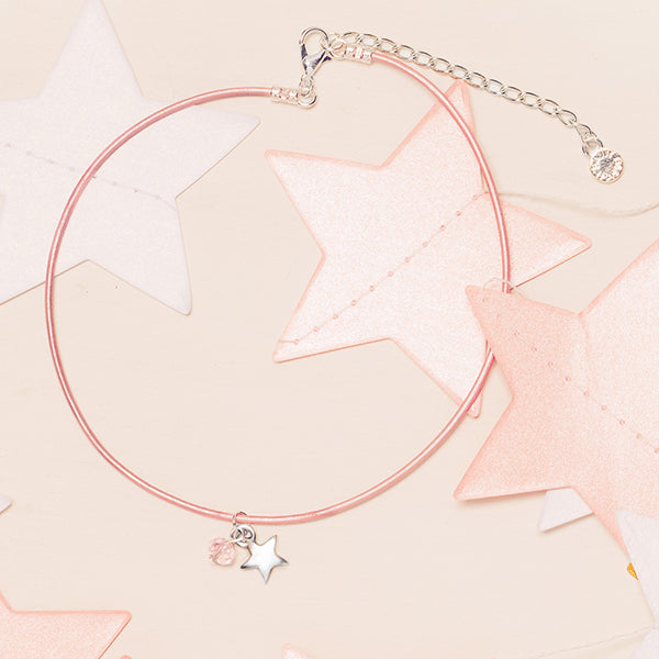 Ladybug | Pink Metallic Leather Necklace