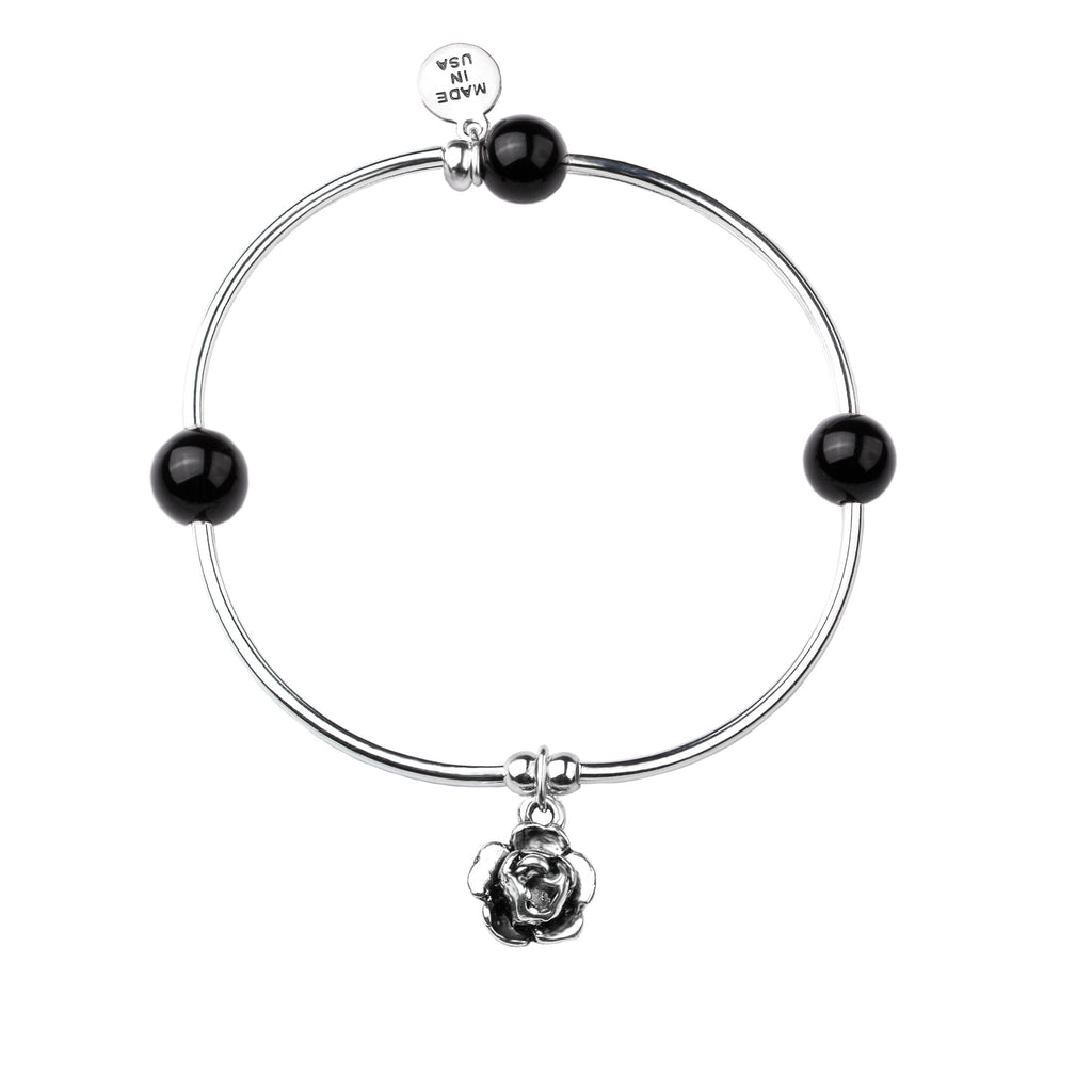 Rose | Soft Bangle Charm Bracelet | Onyx
