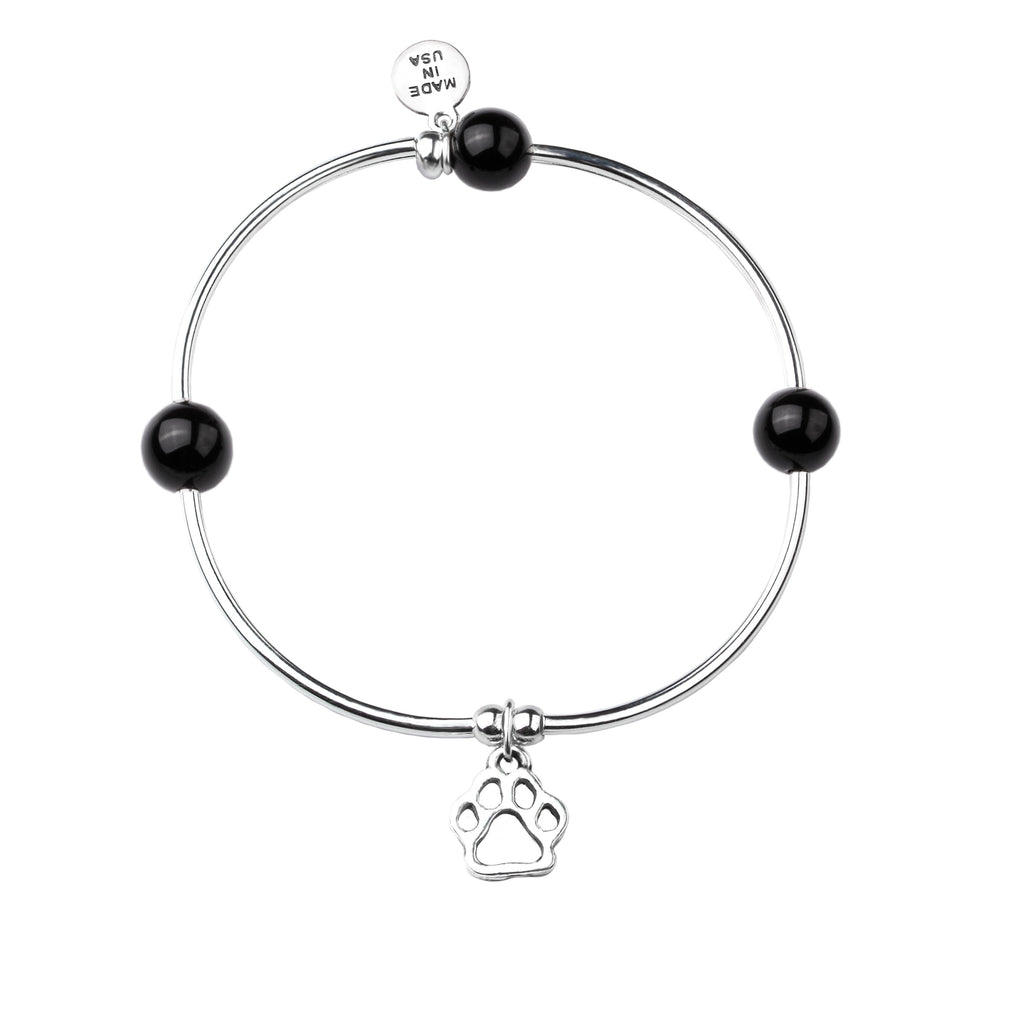 Paw Print | Soft Bangle Charm Bracelet | Onyx