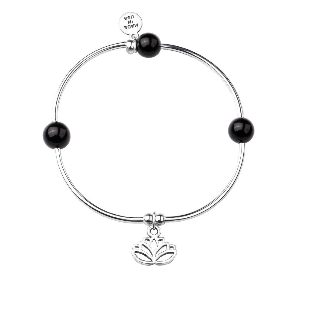 Lotus | Soft Bangle Charm Bracelet | Onyx