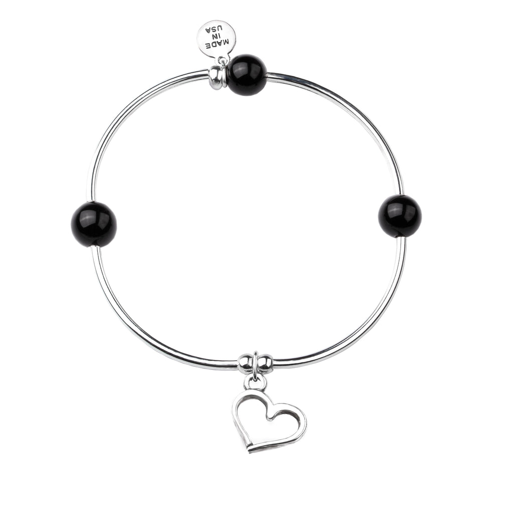 Heart | Soft Bangle Charm Bracelet | Onyx