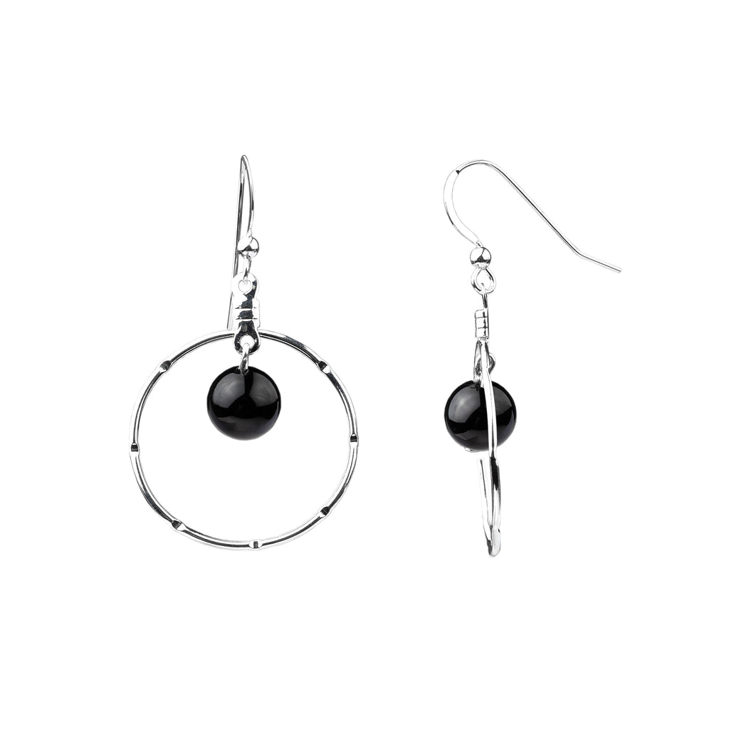 Earring | Notched Hoop | Onyx