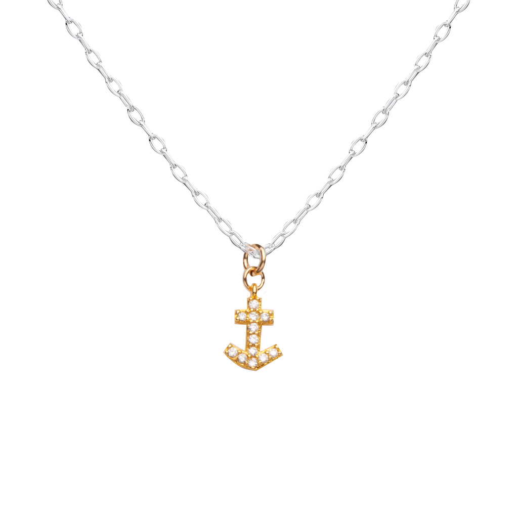 Anchor | Little Layer Necklace | Gold Filled Charm-Pave