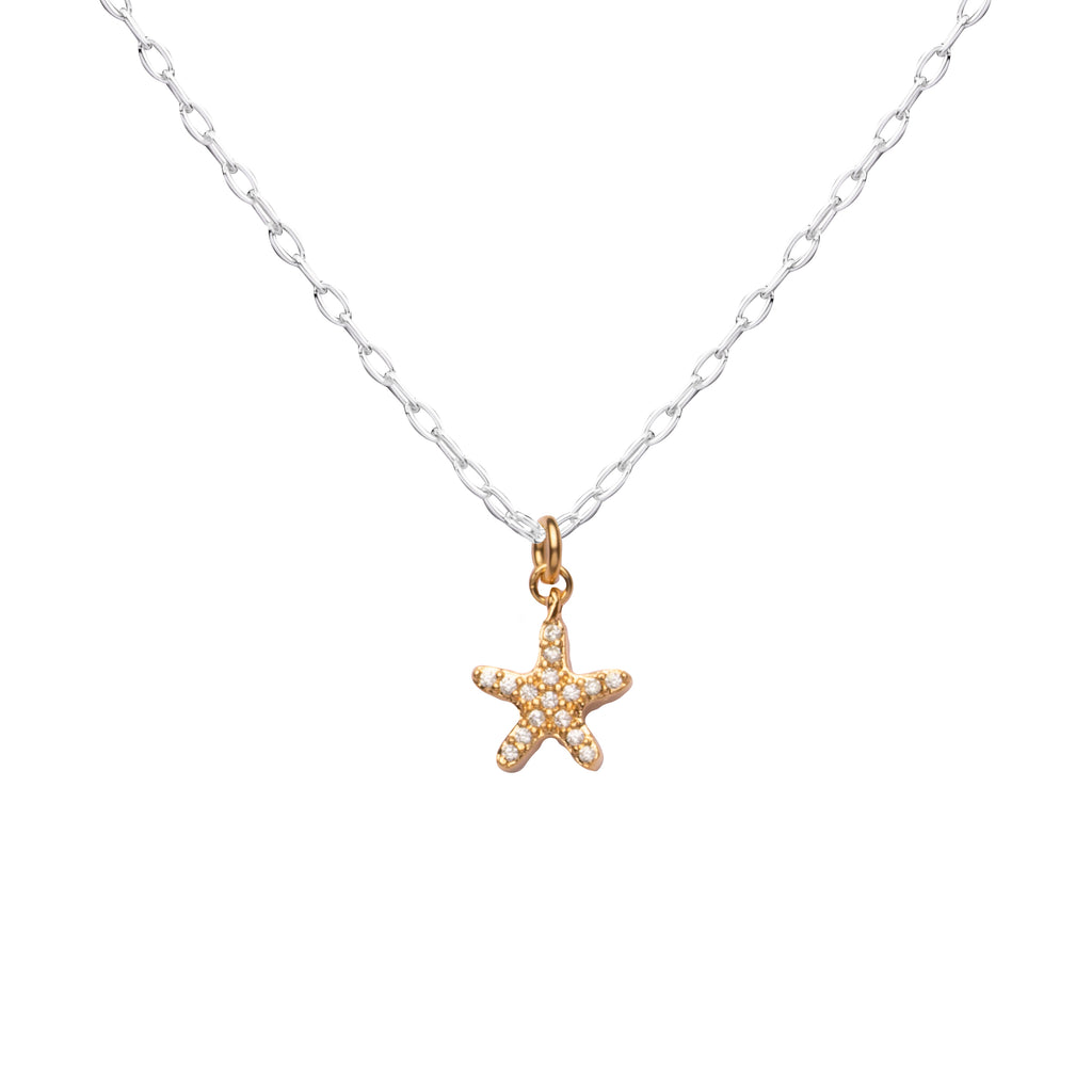 Starfish | Little Layer Necklace | Gold Charm-Pave