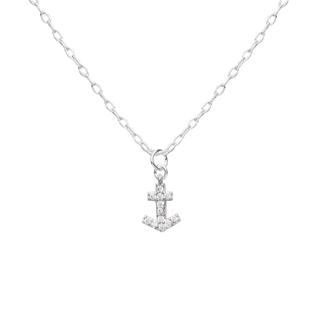 Anchor | Little Layer Necklace | Silver Charm-Pave