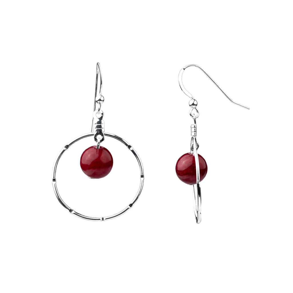 Earring | Notched Hoop | Bordeaux Jade