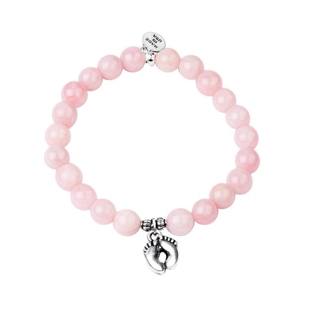 Baby Feet | Stone Beaded Charm Bracelet | Rose Quartz
