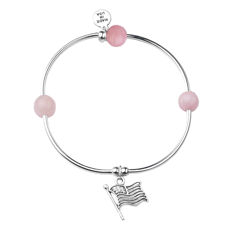 Flag | Soft Bangle Charm Bracelet |  Rose Quartz