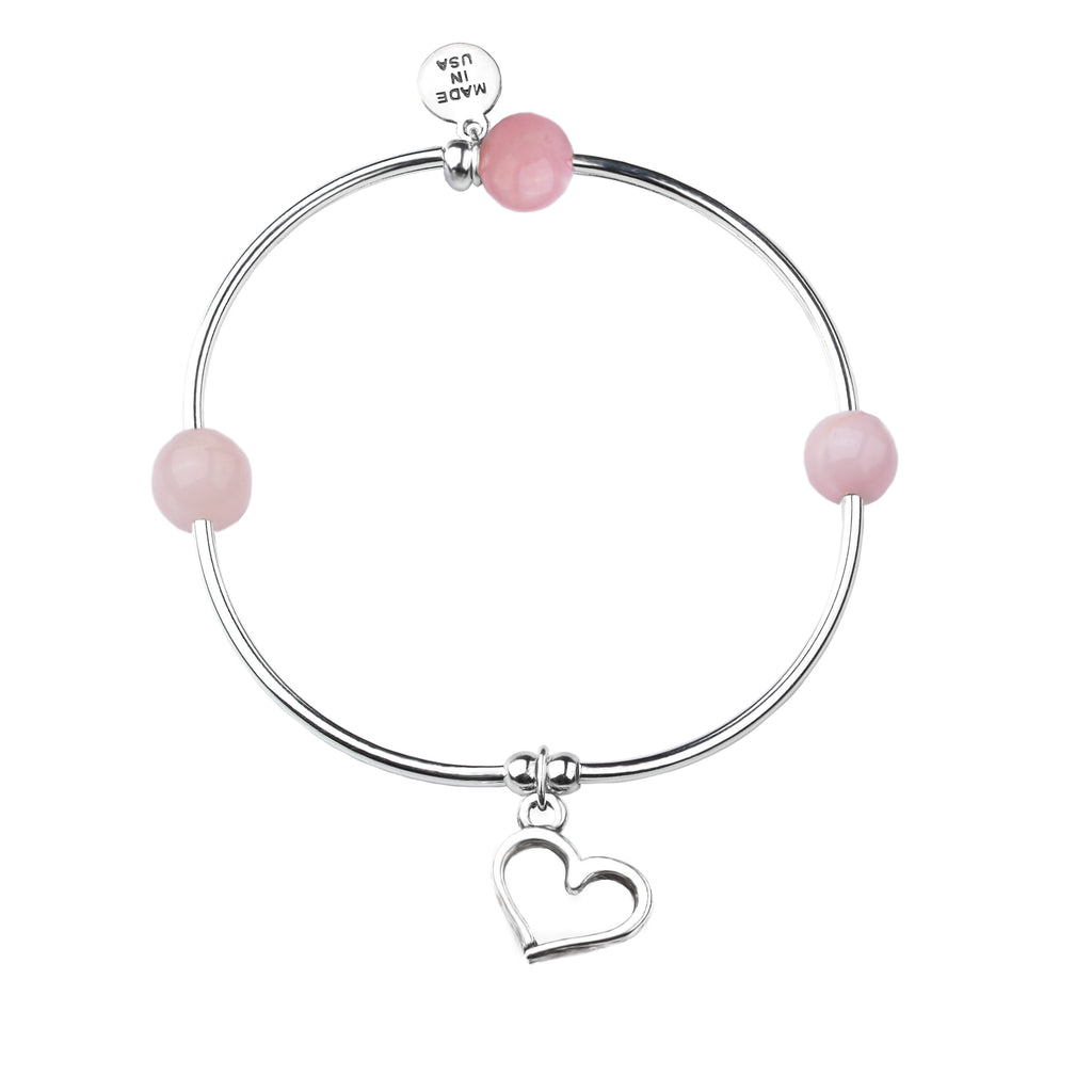 Heart | Soft Bangle Charm Bracelet | Rose Quartz