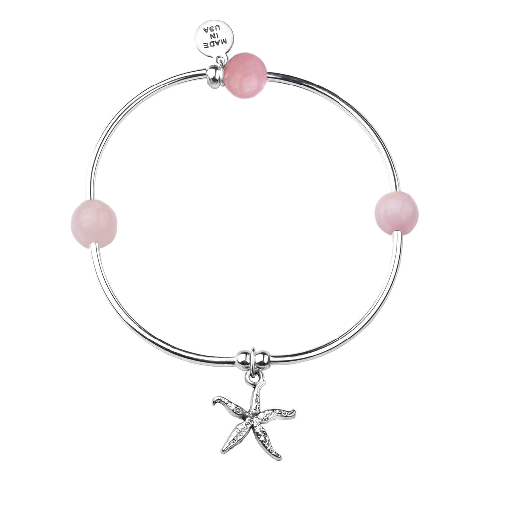 Starfish | Soft Bangle Charm Bracelet | Rose Quartz