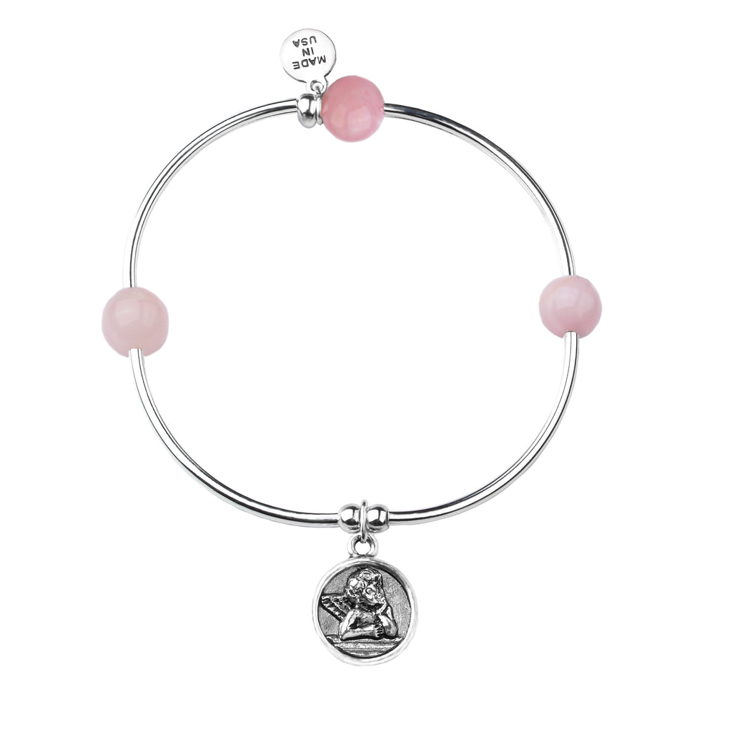 Cherub | Soft Bangle Charm Bracelet | Rose Quartz