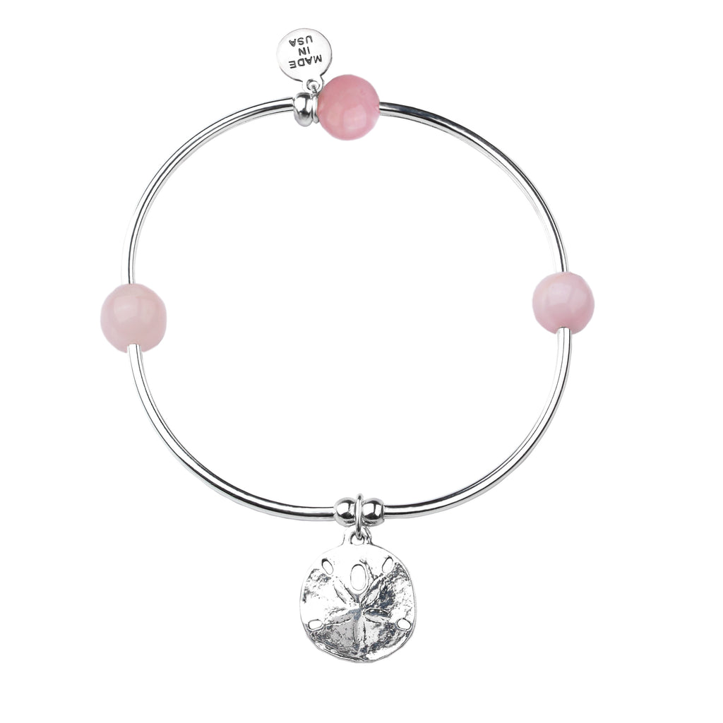 Sand Dollar | Soft Bangle Charm Bracelet | Rose Quartz