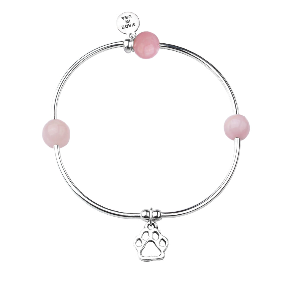 Paw Print | Soft Bangle Charm Bracelet | Rose Quartz