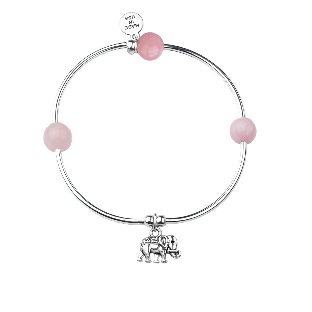 Elephant | Soft Bangle Charm Bracelet | Rose Quartz