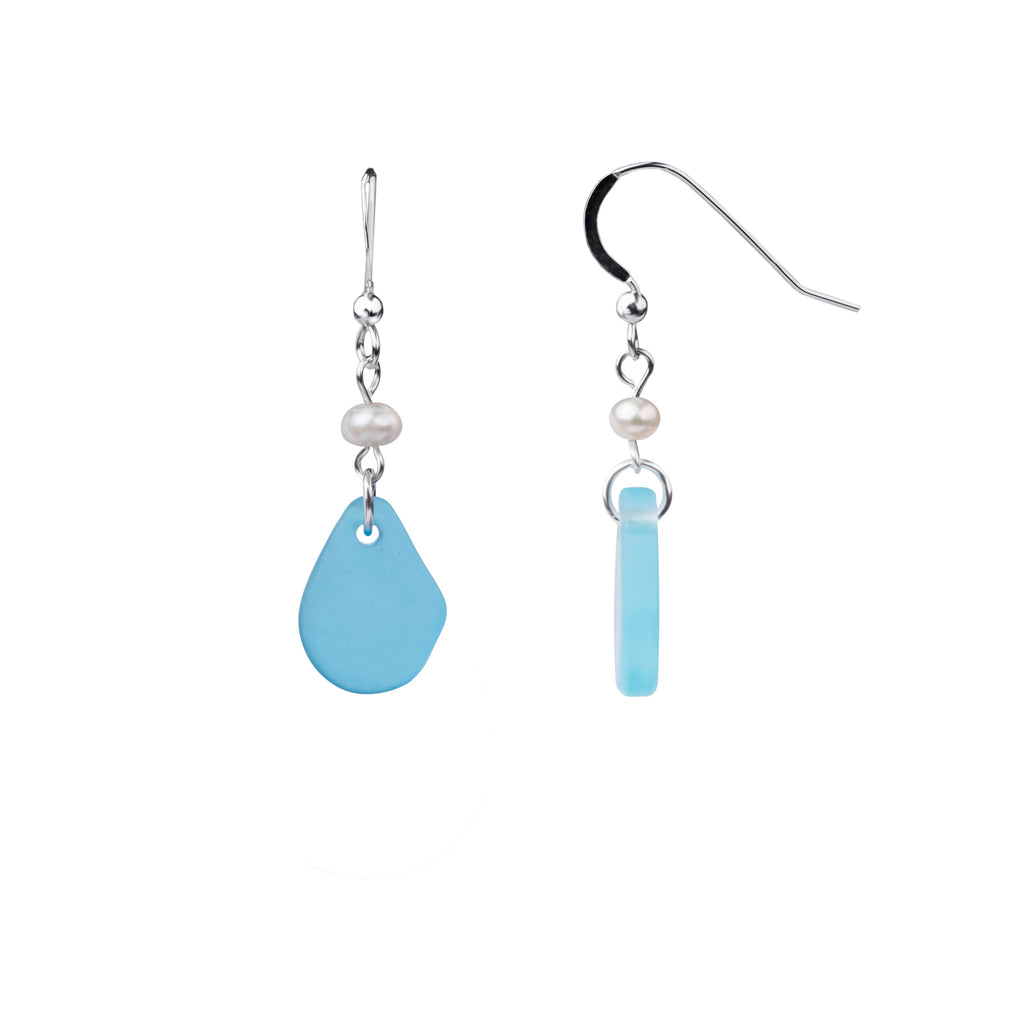 Earring | French Wire  | Sea Glass Pearl Drop-Aquamarine