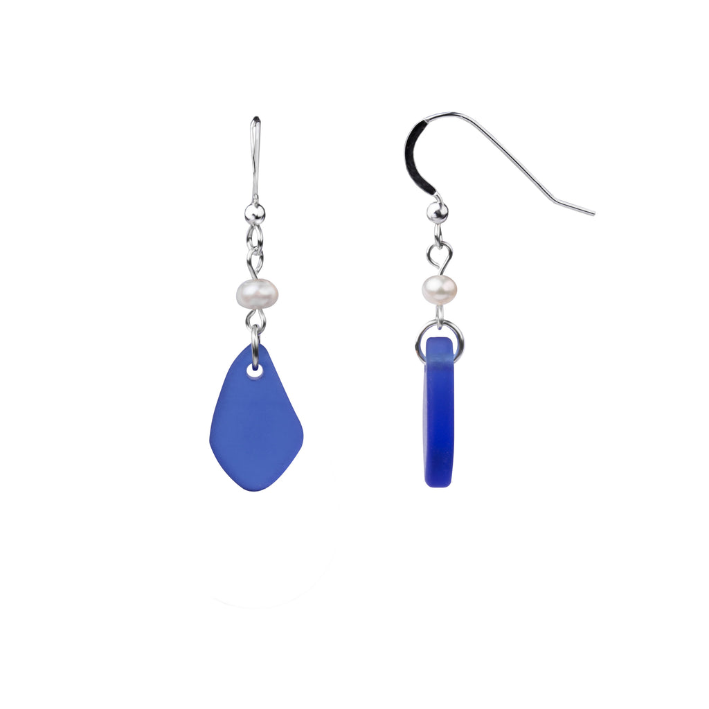 Earring | French Wire  | Sea Glass Pearl Drop-Cobalt Blue