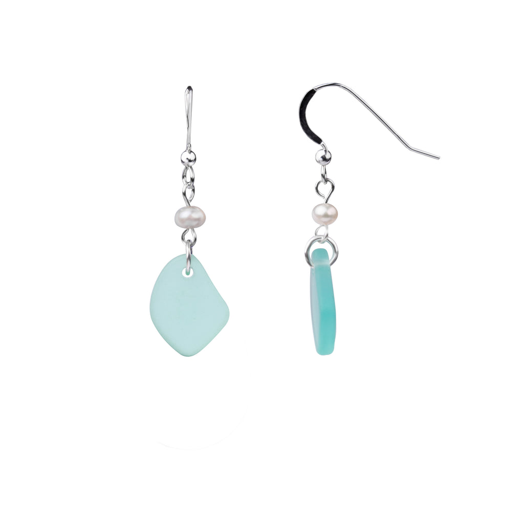 Earring | French Wire  | Sea Glass Pearl Drop-Sea Foam Green