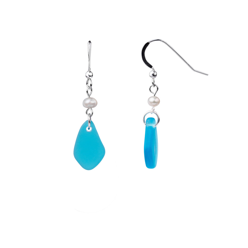 Earring | French Wire  | Sea Glass Pearl Drop-Mediterranean Blue