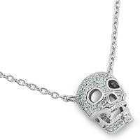 Skull | Necklace | Sterling Silver - Pave CZ