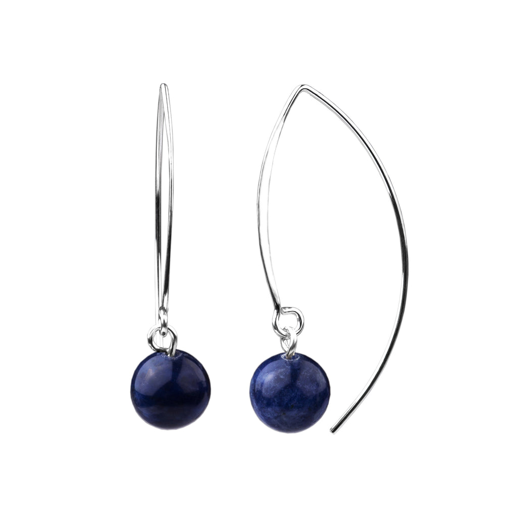 Earring | V Wire - Large  | Sodalite
