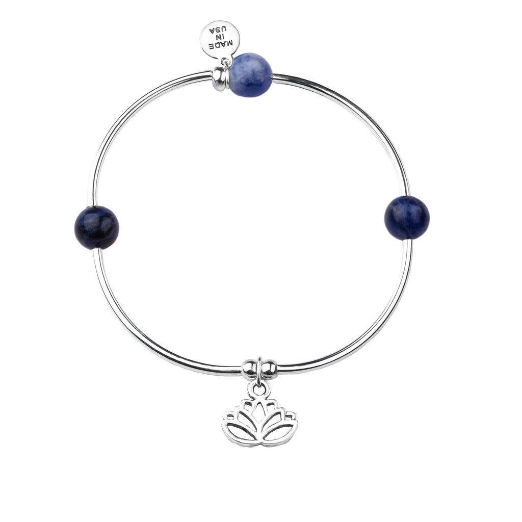 Lotus | Soft Bangle Charm Bracelet | Sodalite