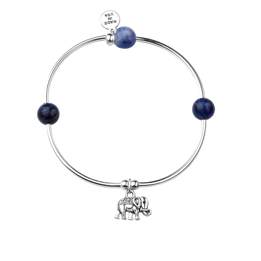 Elephant | Soft Bangle Charm Bracelet | Sodalite